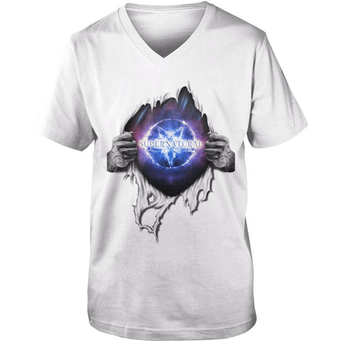 "Picture of white ""Supernatural In My Heart men's v-neck t-shirt."