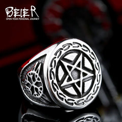 Pentagram ring view from the front.