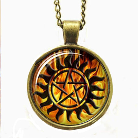Supernatural fire anti-possession pendant in bronze.