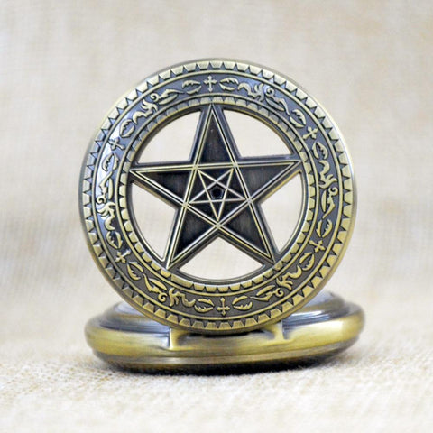 View of pentagram pocket watch with cover open.