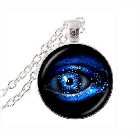 Sparkly blue eye necklace.