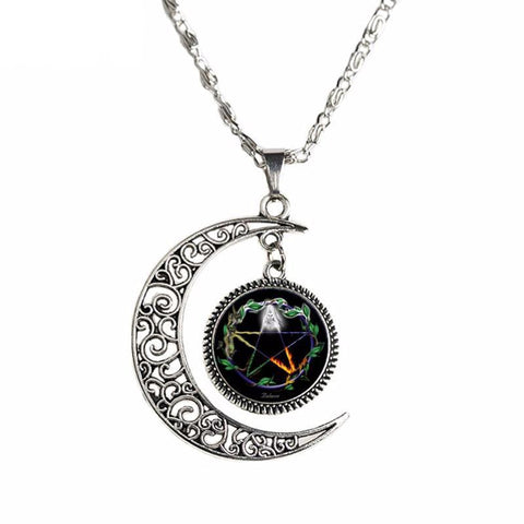 Crescent Moon pendant with pentagram on fire center.