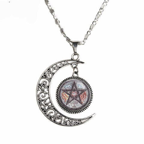 Crescent Moon pendant with vintage pentagram center.