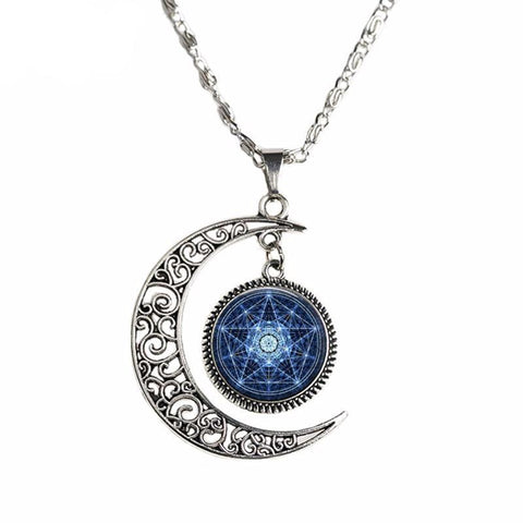 Crescent Moon pendant with pentagram and web design center.