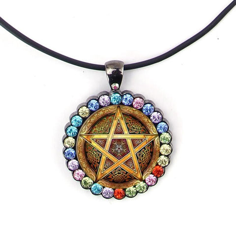 Golden pentagram pendant.