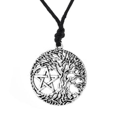 Front view of tree of life and pentagram necklace.
