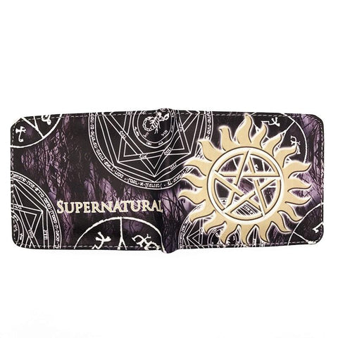 Supernatural wallet with gold sun pentagram spread open.