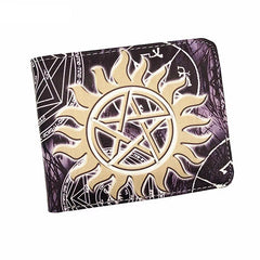 Supernatural wallet with gold sun pentagram.
