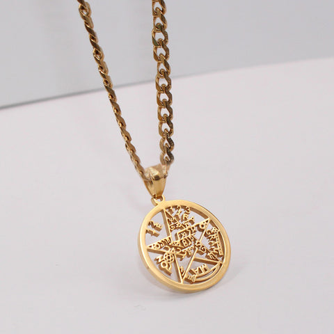 gold esoteric supernatural pendant with chain