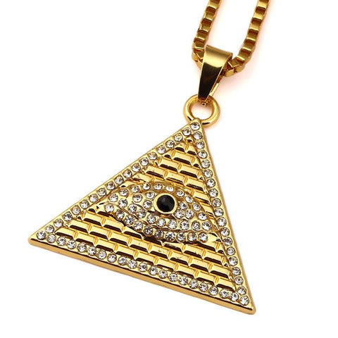 Pyramid Eye Of Horus necklace slanted view against a white background.
