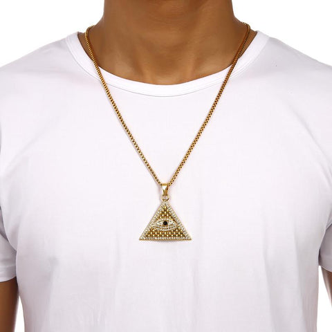 Pyramid Eye Of Horus necklace being worn by a man in a white t-shirt.