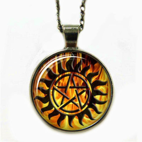 Supernatural fire anti-possession pendant in gun black.
