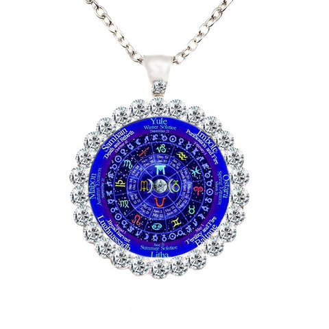 Wiccan zodiac calendar necklace with rhinestones.