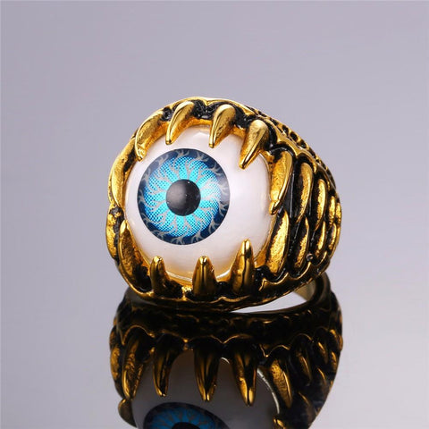 A close-up of the gold Turkish Claw Eye Ring.