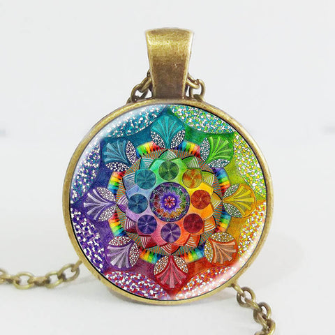 "Handmade Henna Buddhist Mandala  ""Image Under Glass""  Necklace"