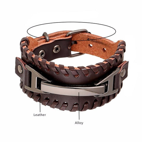 Picture of leather and metal men's bracelet with products used.