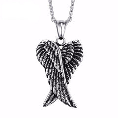 Picture of folded angel wings necklace against white background.