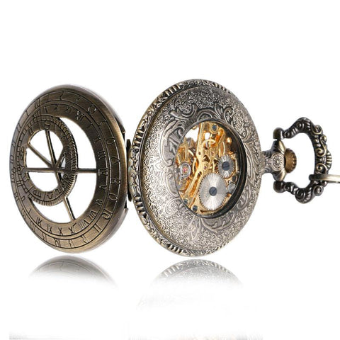 Front and back view of constellation pocket watch.