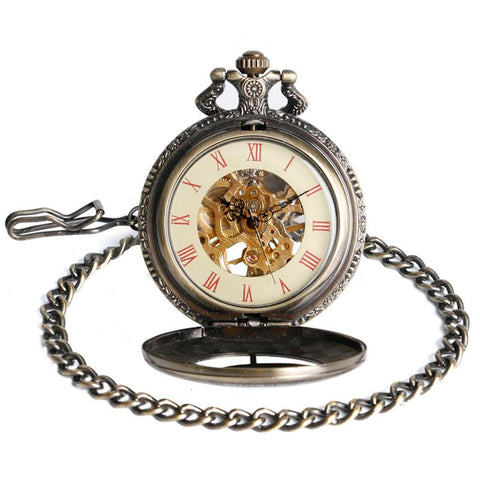 Full view of constellation pocket watch with front open.