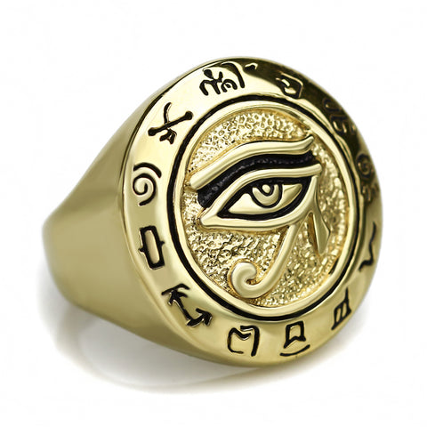 Picture of gold Eye Of Horus men's ring front view.
