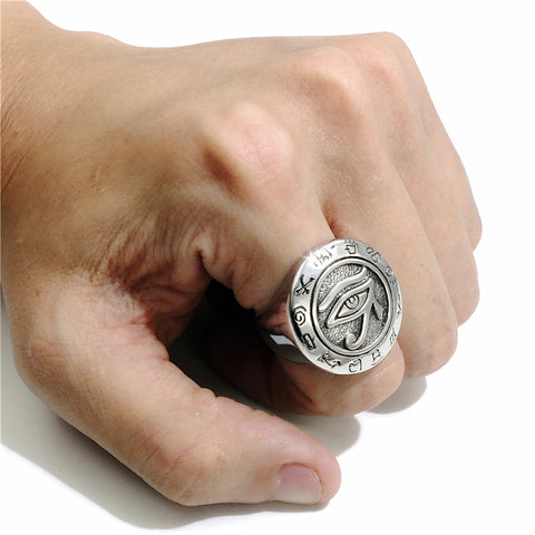 Picture of silver Eye Of Horus men's ring being worn.