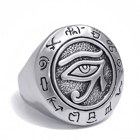 Picture of silver Eye Of Horus men's ring front view.