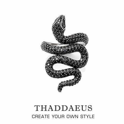 Black pave zirconia snake ring.