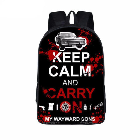 Supernatural backpack -Keep calm and carry on