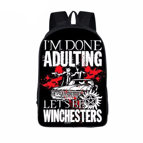 Supernatural backpack -I'm Done Adulting