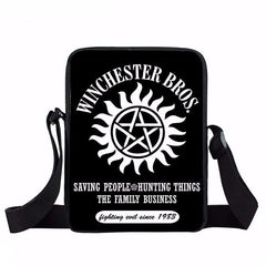 Supernatural messenger bag with Winchester Brothers written on it.