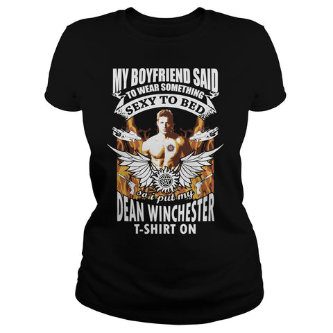 Picture of black Supernatural Dean t-shirt for goddesses.