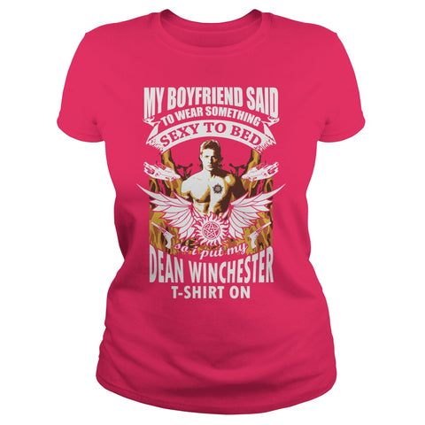 Picture of hot pink Supernatural Dean t-shirt for goddesses.