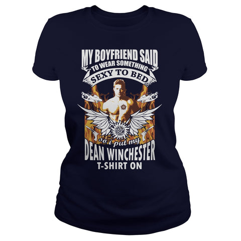 Picture of navy blue Supernatural Dean t-shirt for goddesses.