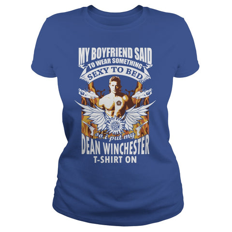 Picture of royal blue Supernatural Dean t-shirt for goddesses.