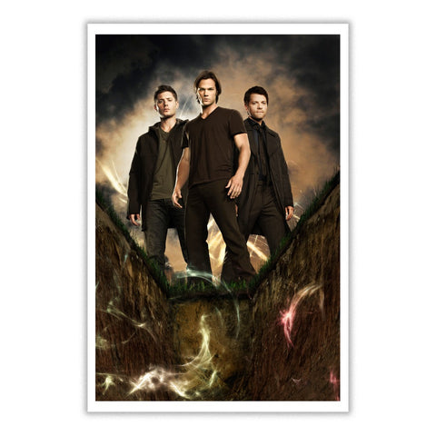 Picture of Sam, Dean and Castiel in Supernatural Poster