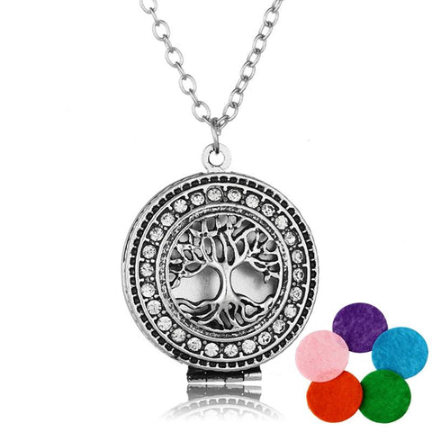 White rhinestone tree of life pendant.