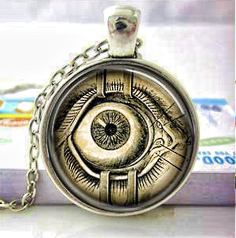 Mechanical eye necklace.