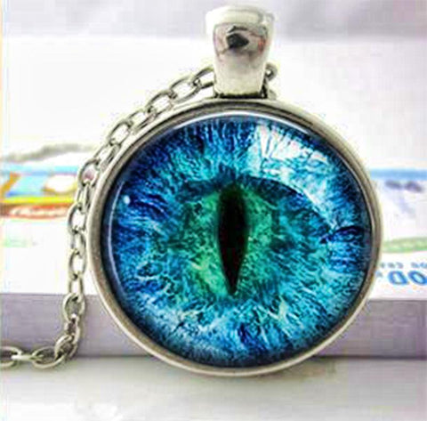Blue cat eye necklace.