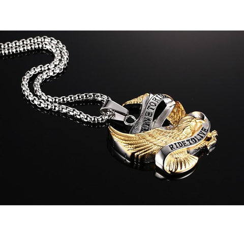 Picture of eagle Ride To Live necklace against a black background.