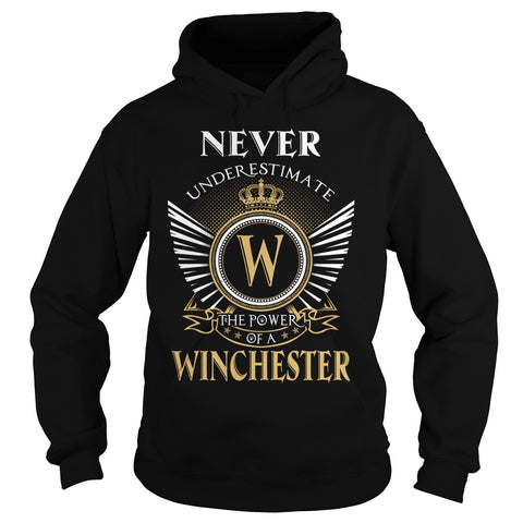 "Picture of black ""Never Underestimate A Winchester"" hoodie for guys."