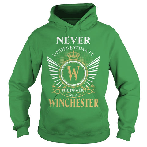 "Picture of green ""Never Underestimate A Winchester"" hoodie for guys."