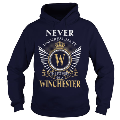 "Picture of navy blue ""Never Underestimate A Winchester"" hoodie for guys."