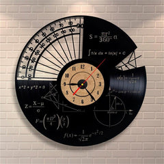 Picture of math vinyl wall clock hanging on a brick wall.