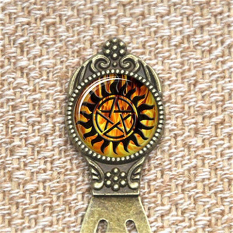 Supernatural fire anti-possession pendant in bronze bookmark.