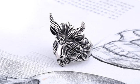 Goat head and pentagram stainless steel ring side view.