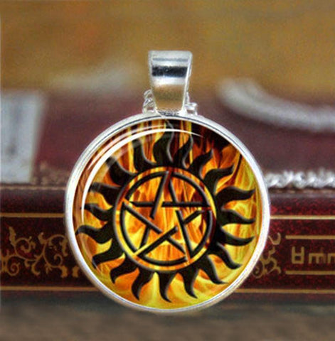 Supernatural fire anti-possession pendant in silver