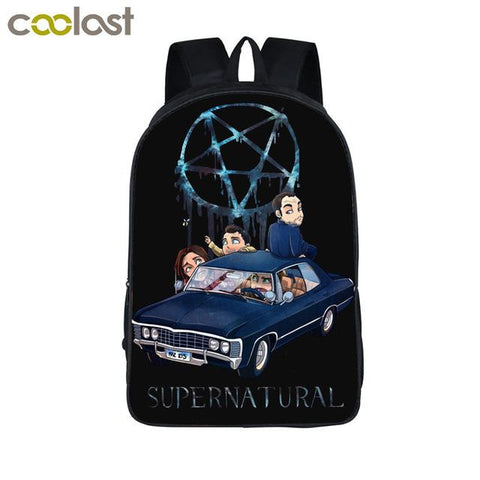Supernatural backpack - Cartoon Sam, Dean and Baby