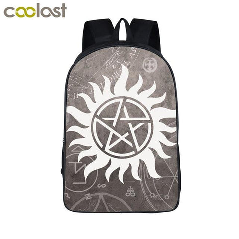 Supernatural backpack - Black and Gray Pentagram Symbol