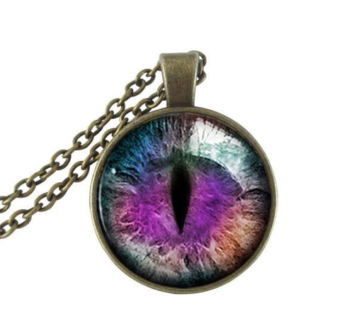 Blue and purple cat's eye necklace.