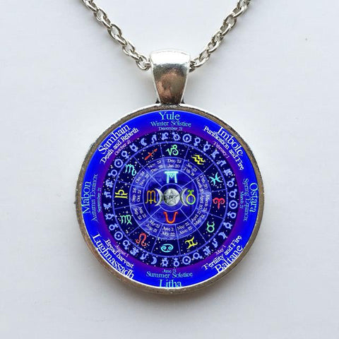 Wiccan zodiac calendar necklace in antique silver.